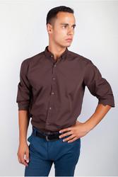Рубашка однотонная,  воротник на пуговице AG-0002023